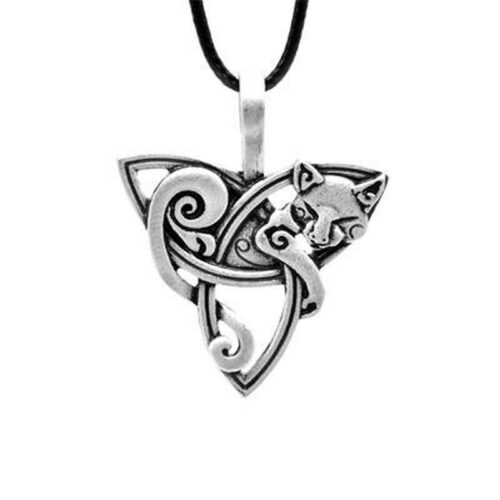 celtic wolf pendant necklace representing a triquetra wrapped with a wolf