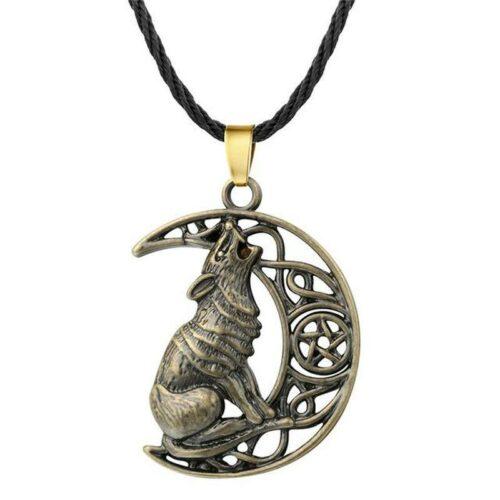 crescent moon wolf necklace bronze color