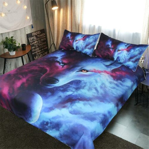 Duvet Cover Wolf Galaxy