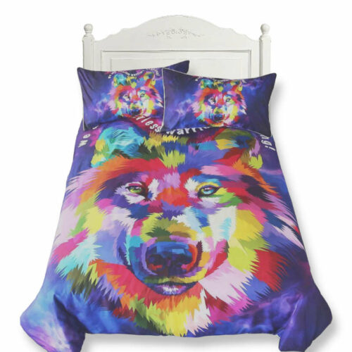wolf duvet cover multicolor painting style