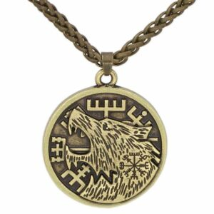 fenrir wolf necklace bronze color and in a medallion shape