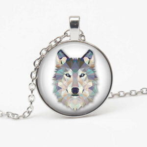 geometric wolf necklace showing a blue wolf head in a cabochon