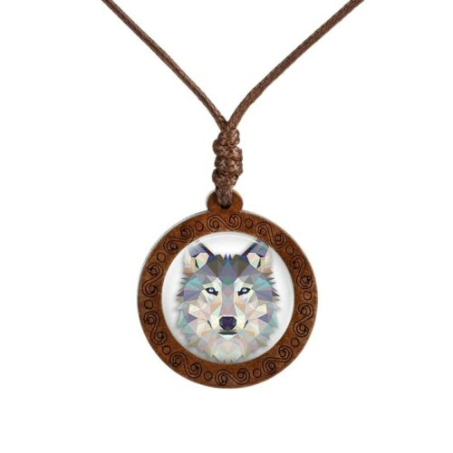 geometric wolf necklace made of wood with a glass cabochon and a blue wolf head