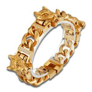 Gold Wolf Bracelet (Steel)