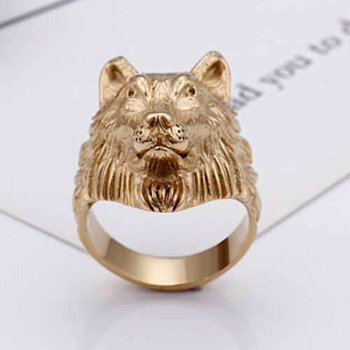 gold wolf head ring quite