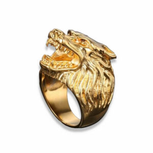 gold wolf ring with head wolf