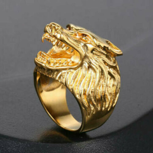 gold wolf ring platted