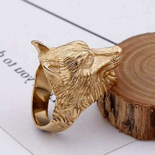 gold wolf head ring right