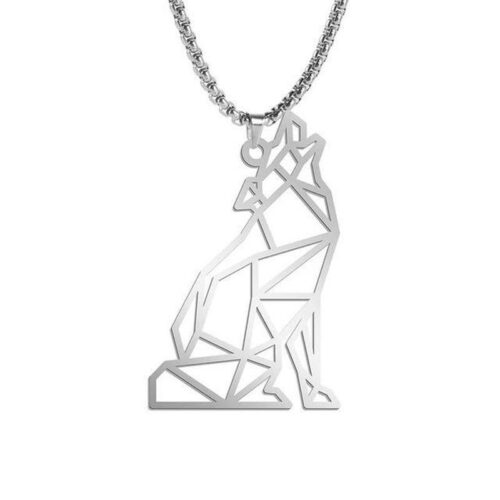 howling wolf necklace outline made of steel