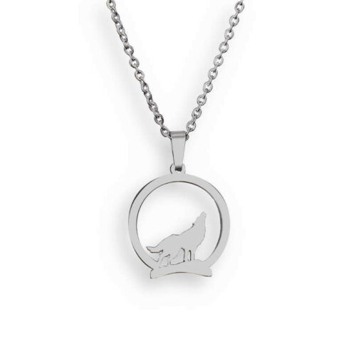 wolf necklace showing a wolf howling on a hill silver or steel color