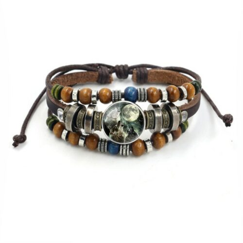 Leather wolf cabochon glass bracelet with a howling wolf and beads brown and blue