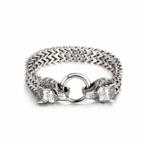 mens wolf head bracelet braided steel two wolf heads bit a ring
