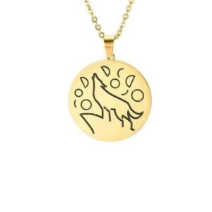 minimalist wolf necklace gold plated engraved with a wolf howling at the sky