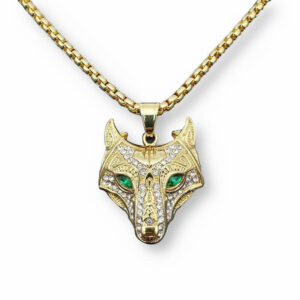 Nordic wolf necklace with a wolf head with stones (diamond, zirconium)