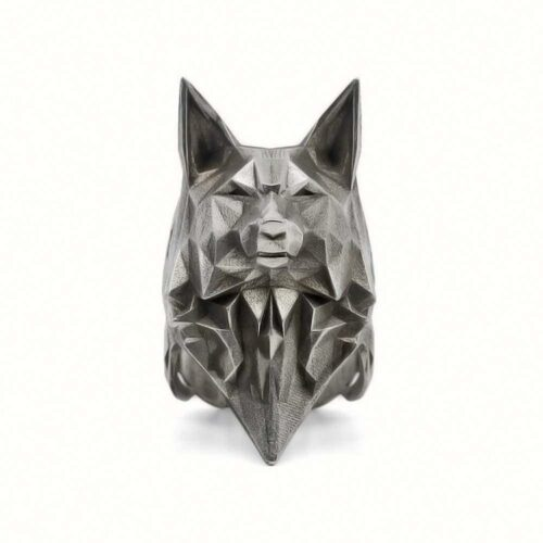Origami Wolf Ring (Steel)