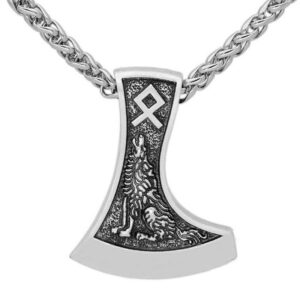 Wolf necklace showing a wolf howling and the othala or othila or odal rune engraved on an axe blade.