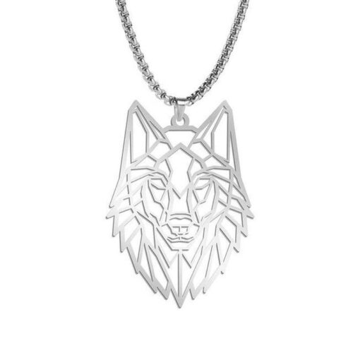 outline wolf necklace