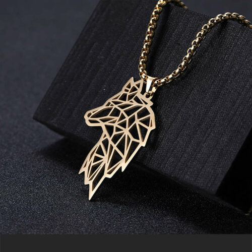outline wolf necklace gold