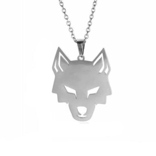 316L stainless steel wolf necklace wolves'lair logo