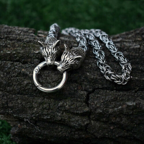 two viking wolf head necklace