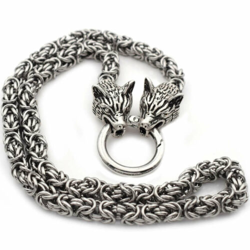 viking wolf head necklace made of steel with two wolf head representing geri and freki the wolves of odin