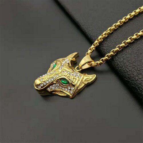 viking wolf necklace green eyes