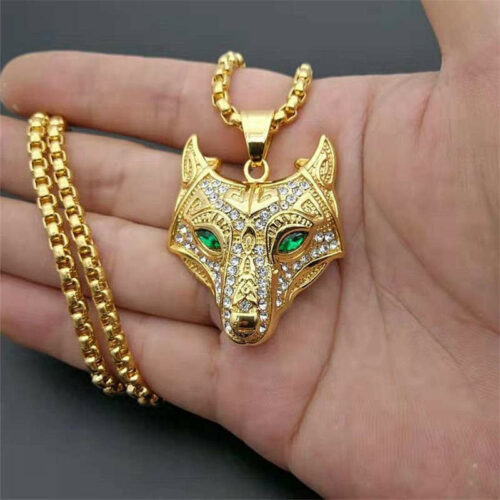 nordic wolf necklace green eyes made of 316L stainless steel and gold plated