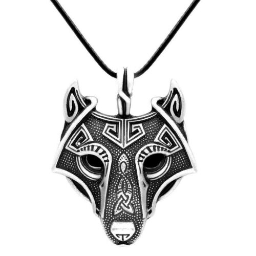 Viking wolf necklace showing a very detailed Fenrir wolf head