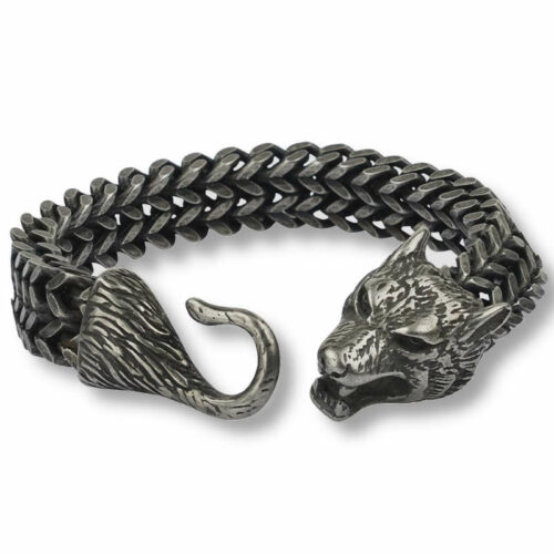 Wolf alpha bracelet made of steel with a hook and a wolf head