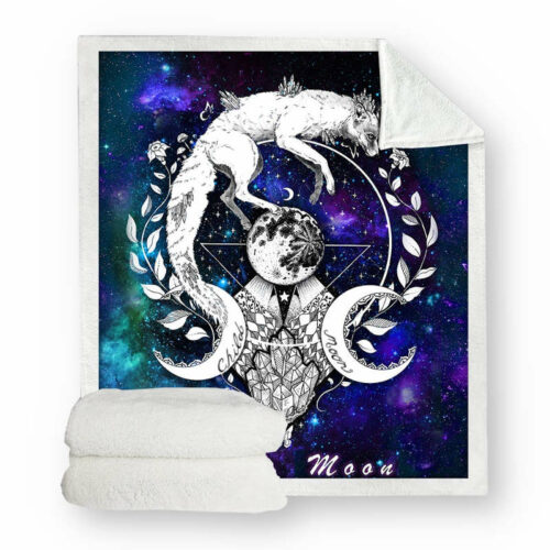 wolf fur sherpa blanket with a galaxy and the moon