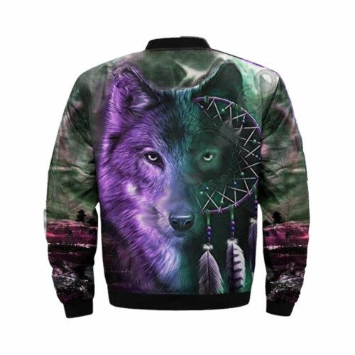 wolf bomber jacket dreamcatcher head wolf back