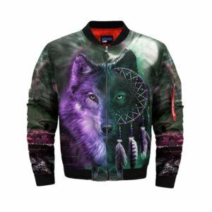 wolf bomber jacket dreamcatcher black and purple head wolf