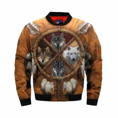 wolf bomber jacket brown with 4 wolf species