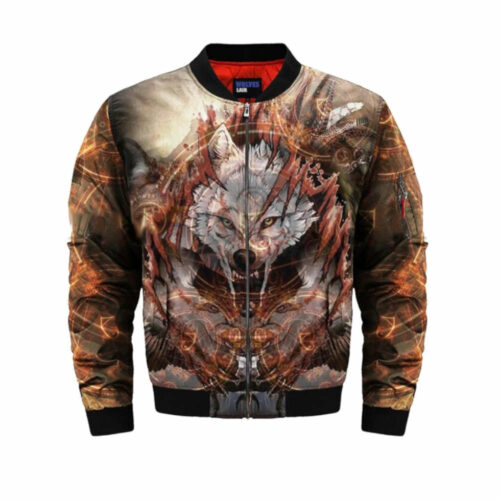 wolf bomber jacket angry grey wolf