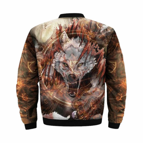 wolf bomber jacket angry grey wolfback