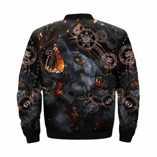 wolf bomber jacket black satan back