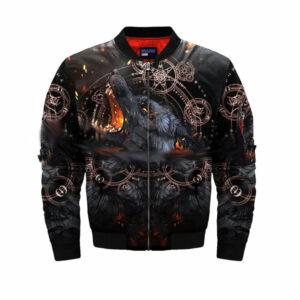 wolf bomber jacket black satan