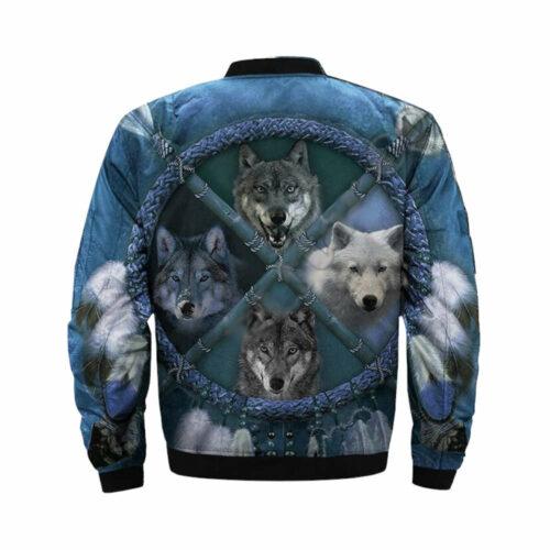 wolf bomber jacket blue arrow 4 wolf species back