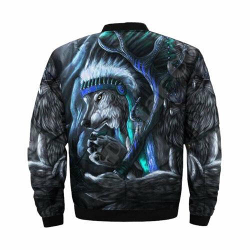 wolf bomber jacket blue inidan back