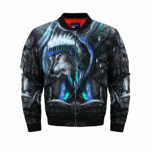 wolf bomber jacket blue inidan
