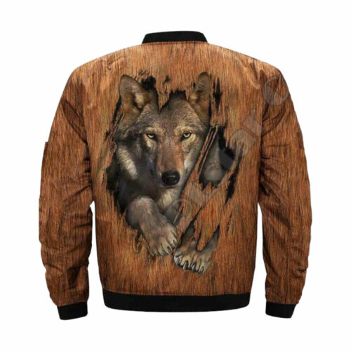 wolf bomber jacket brow with wolf claw effect back
