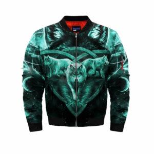 wolf bomber jacket turquoise celtic cross