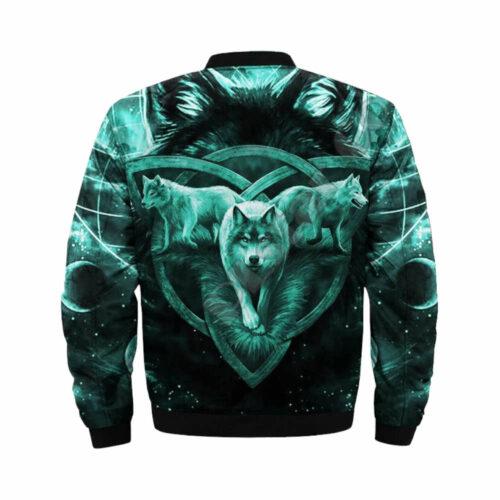 wolf bomber jacket blue celtic cross back