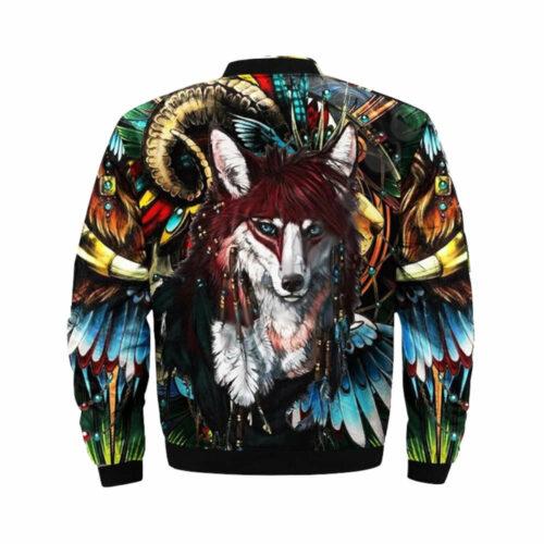 wolf bomber jacket indian native american back