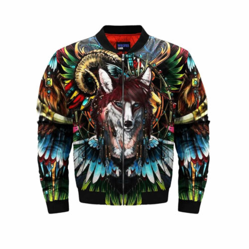 wolf bomber jacket indian front