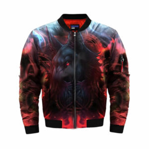 wolf bomber jacket black and red fenrir