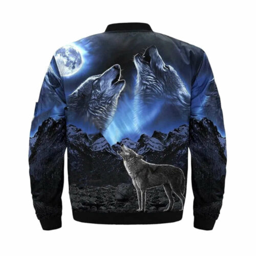wolf bomber jacket black with two wolf howling at the moon back