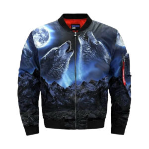 wolf bomber jacket black with two wolf howling at the moon