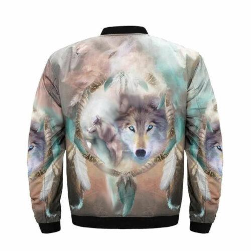 wolf bomber jacket multiple colors spirit back