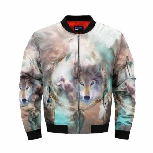 wolf bomber jacket multiple colors spirit